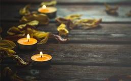 Gelbe Kerzen und Trockenblumeblumenblätter Lizenzfreie Stockbilder
