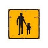 Gelbe Kinder, die das Verkehrsschild lokalisiert auf Weiß warnen Lizenzfreie Stockfotografie