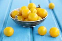 Gelbe Kirschtomaten. Stockfotos