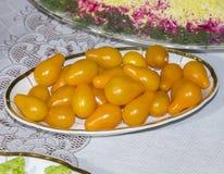 Gelbe Kirschtomaten Stockbild