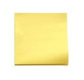 Gelbe klebrige Anmerkung über weißen Hintergrund (Beschneidungspfad) Lizenzfreie Stockfotos