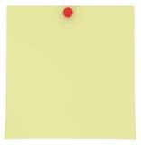 Gelbe klebrige Anmerkung getrennt auf Weiß Stockbild