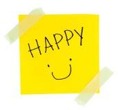 Gelbe klebrige Anmerkung Smiley Faces stockbilder