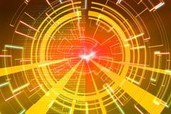 Gelbe Kreisglühenwelle Scifi- oder Spielhintergrund Lizenzfreie Stockbilder
