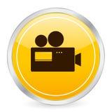 Gelbe Kreisikone der Kamera Stockbild