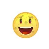 Gelbe lächelnde Gesichts-offener Mund-positive Leute-Gefühl-Ikone stock abbildung