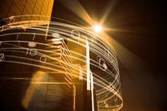 Gelbe Lichtstrahlen über Wolkenkratzern Lizenzfreie Stockfotos