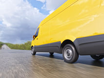 Gelbe Lieferung Handels-Van auf Landschafts-Straßen-Bewegung verwischte Illustration 3d Stockfotos
