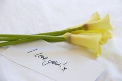 Gelbe lillies und Liebesanmerkung Stockfotos
