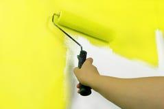 gelbe Malereiwand Lizenzfreies Stockbild