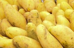 Gelbe Mango auf Markt - exotische thailändische Früchte stockbilder