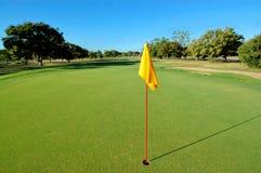 Gelbe Markierungsfahne auf Golfgrün Lizenzfreie Stockfotos