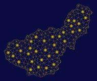 Gelbe Maschen-2D Granada-Provinz-Karte mit grellen Stellen stock abbildung