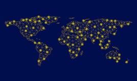 Gelbe Maschen-2D Weltkarte mit hellen Stellen lizenzfreie abbildung