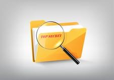 Gelbe Ordner-Verzeichnisikone der Dokumentengeheimen akte und vergrößertes Glas auf weißem grauem, transparentem Vektor Lizenzfreie Stockbilder