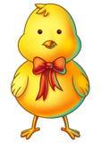 Gelbe Ostern-Hühnerzeichentrickfilm-figur Stockfotos