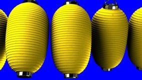 Gelbe Papierlaterne auf blauem Farbenreinheitsschlüssel stock abbildung