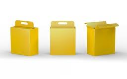 Gelbe Papppapierkastenverpackung mit Griff, Beschneidungspfad Lizenzfreies Stockfoto