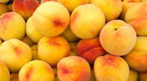 Gelbe Pfirsiche auf Bildschirmanzeige Stockbild