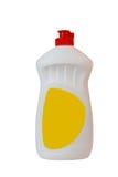 Gelbe Plastikflasche getrennt auf einem weißen Hintergrund Stockfotos
