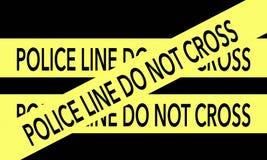 Gelbe Polizei-Linie kreuzen nicht Band auf schwarzem Hintergrund Stockfotos