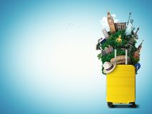 Gelbe Reisetasche mit Weltmarkstein stock abbildung
