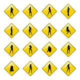 Gelbe reizvolle Mädchenzeichenikonen Lizenzfreie Stockbilder