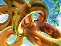 Gelbe Ringkörper und DNA-Zeichenkette Lizenzfreie Stockfotografie