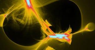 Gelbe rote und blaue abstrakte Linien Kurven-Partikel-Hintergrund Stockbild