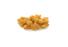 Gelbe süße Rosinen auf Weiß Lizenzfreie Stockfotografie