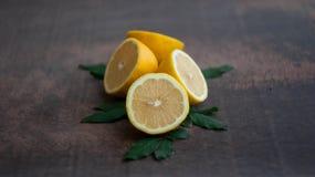 Gelbe saftige Frucht der Zitrone Stockbild