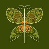 Gelbe Schmetterlings-Vektorillustration mit abstrakten Blumen Stockfotos