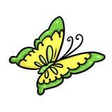 Gelbe Schmetterlingskarikatur Stockfoto