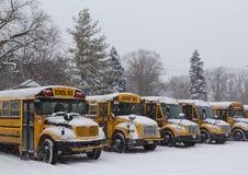 Gelbe Schulbusse geparkt im Schnee Stockfotos