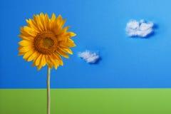 Gelbe Sonnenblumen auf einem blauen Hintergrund mit Wolken Stockbilder