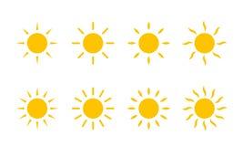 Gelbe Sonnenscheinikone Sun Vektorsonnenlinie Strudelstrahlen oder Hitzestrahlen vektor abbildung