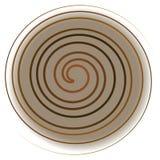 Gelbe Spirale auf weißem Hintergrund, Abstraktion stockbilder