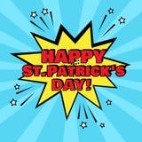 Gelbe Spracheblase mit glücklichen St Patrick Tageswort auf blauem Hintergrund r Vektor vektor abbildung