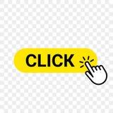 Gelbe Stange des Klickennetzknopfschablonen-Vektors, Handfinger klicken hier Cursor lizenzfreie abbildung