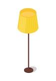 Gelbe Stehlampe lokalisiert auf weißem Hintergrund Stockfotografie