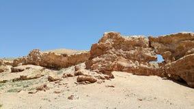 Gelbe Steinbildung an Sharyn Canyon-Landschaft in Kasachstan stockfoto