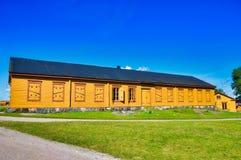 Gelbe Struktur auf Suomenlinnan, Finnland Stockbild