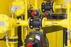 Gelbe Tankstelle stockbild