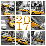 2017 gelbe Taxis in der New- Yorkgrußkarte Stockfoto