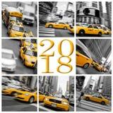 2018 gelbe Taxis in der New- Yorkquadratgrußkarte Stockfotos
