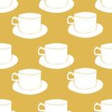Gelbe Teeschalen des Vektors, nahtloser Musterhintergrund lizenzfreie abbildung