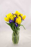 Gelbe Tulpen und blaue Iris, Blumenstrauß lizenzfreie stockfotos