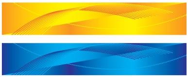 Gelbe und blaue abstrakte Fahnen Stockfoto