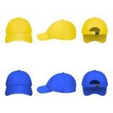 Gelbe und blaue Kappen Lizenzfreie Stockfotografie