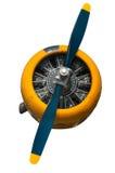 Gelbe und blaue Maschine und Propeller des Texaner-AT-6 lizenzfreies stockbild
